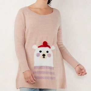 Lauren Conrad Pink Polar Bear Sweater